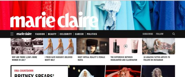 Marie Claire masthead