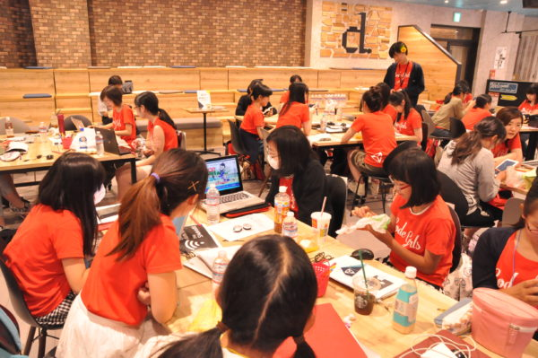 Girl coders attending an event in Japan this summer, in which Unity Japan partnered with Life is Tech. (Image courtesy Unity Technologies.)